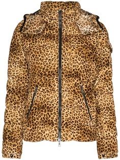 Moncler пальто-пуховик Bady с леопардовым принтом