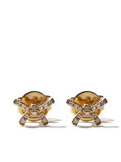 AS29 золотые серьги-гвоздики с подвесками-бантами и бриллиантами