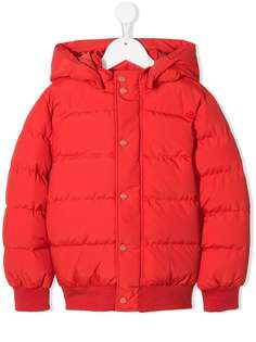 Msgm Kids стеганая куртка с капюшоном и логотипом