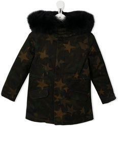 Yves Salomon Enfant пальто с капюшоном и оторочкой из искусственного меха