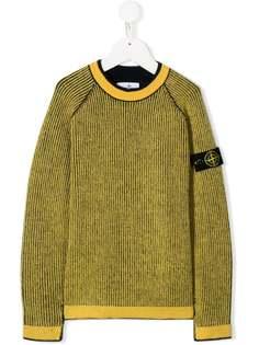 Stone Island Junior вязаный свитер с нашивкой-логотипом