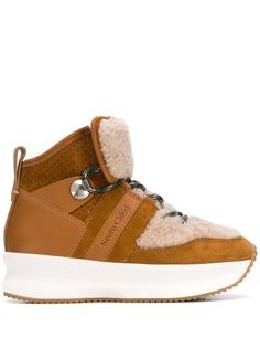 See By Chloé кроссовки на платформе со вставками из овчины