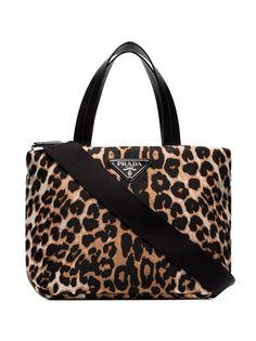 Prada маленькая сумка-тоут с леопардовым принтом
