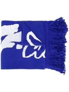 Off-White logo print fringed scarf