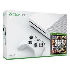 Игровая консоль MICROSOFT Xbox One S с 1 ТБ памяти, игрой Grand Theft Auto 5, белый