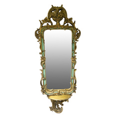 Зеркало в золотистой раме с декором Wah luen handicraft 61х153см