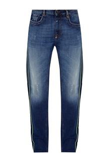 Синие джинсы с яркими лампасами Dirk Bikkembergs