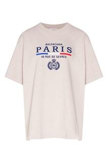 Бежевая футболка с логотипом Balenciaga