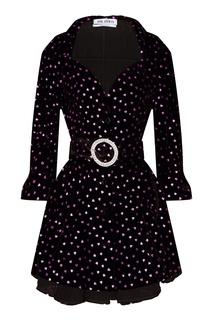 Бархатное платье в горох Attico