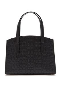 Черная сумка Charlie 28 из тисненой кожи Signature Coach
