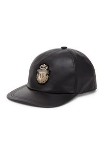 """Кожаная кепка с гербом """"Billionaire"""""""