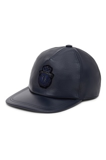 Темно-синяя кожаная кепка Billionaire