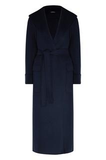 Темно-синее пальто с капюшоном Max Mara