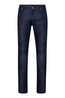 Темно-синие джинсы с кожаным декором Billionaire