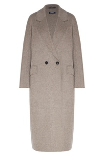 Серое двубортное пальто прямого кроя Max Mara