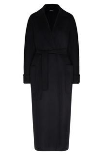 Черное однобортное пальто с карманами Max Mara
