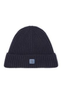 Темно-синяя шапка с кожаной нашивкой Billionaire