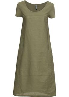 Платья с коротким рукавом Платье изо льна и хлопка Bonprix