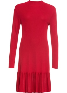 Короткие платья Платье с воланом и длинным рукавом Bonprix