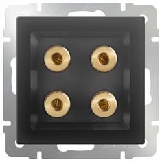 Розетка акустические без рамки Черный матовый WL08-AUDIOx4 Werkel
