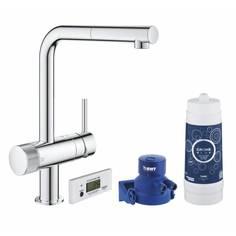 Смеситель для кухни GROHE Blue Pure Minta, без электроники с L-образным выдвижным изливом, для подачи смешанной и фильтрованной воды, с головкой для фильтра и счетчиком, хром (30382000)
