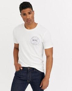 Белая футболка с принтом Selected Homme NYC