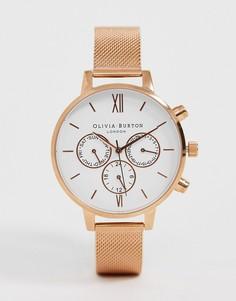 Розово-золотистые часы с хронографом и сетчатым браслетом Olivia Burton