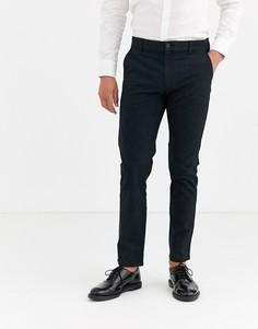 Черные однотонные шерстяные брюки Selected Homme
