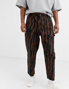 Коричневые брюки карго с зебровым принтом Obey Fubar