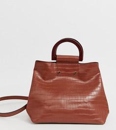 Коричневая сумка-тоут с эффектом крокодиловой кожи и ручками под дерево Accessorize