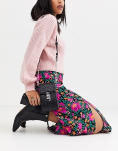 Черная миниатюрная сумка через плечо Topshop