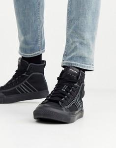 Черные высокие кроссовки с отделочной строчкой Diesel - S-Asticio