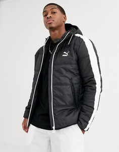 Черная дутая куртка Puma
