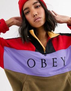 Флисовый топ колор блок с логотипом на вставке Obey