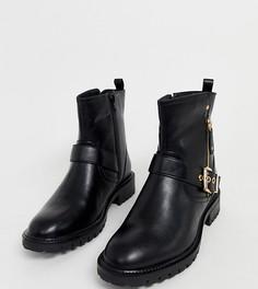 Черные байкерские ботинки с пряжками для очень широкой стопы Simply Be
