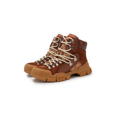 Кроссовки Gucci Кожаные кроссовки Flashtrek GG на шнуровке Gucci