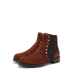 Замшевые ботинки Valentino Garavani Rockstud с внутренней отделкой из овчины Valentino