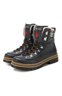 Кожаные ботинки с меховой отделкой Dsquared2