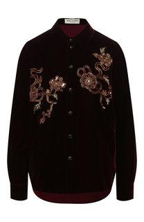 Бархатная рубашка Saint Laurent
