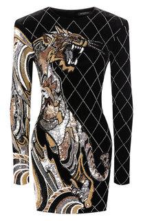Платье из смеси вискозы и шелка Balmain