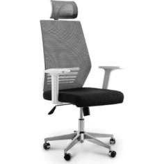 Кресло офисное NORDEN Престиж белый пластик/серая сетка/черная ткань