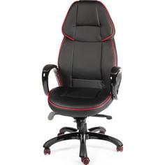 Кресло офисное NORDEN Виннер черный пластик/черная экокожа/красный кант