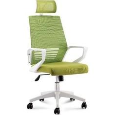 Кресло офисное NORDEN Эрго белый пластик/зеленая сетка/зеленая ткань