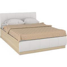 Кровать Моби Линда 303 140 дуб сонома/белая искусственная кожа 140х200 Mobi