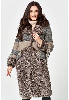Комбинированная шуба из овчины с отделкой мехом енота Virtuale Fur Collection
