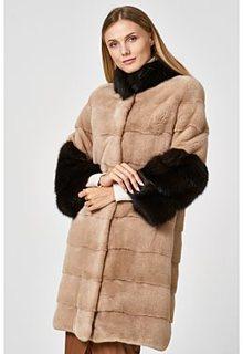 Норковая шуба с отделкой мехом куницы Empire of Fur