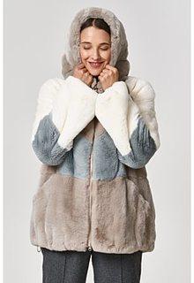 Шуба из меха кролика с капюшоном Virtuale Fur Collection