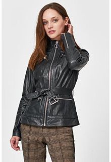 Кожаная куртка с ремнем La Reine Blanche