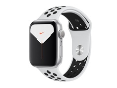 Умные часы APPLE Watch Nike Series 5 44mm Silver Aluminium with Pure Platinum-Black Nike Sport Band SM - ML MX3V2RU/A