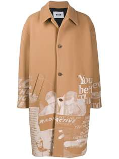 MSGM пальто с графичным принтом